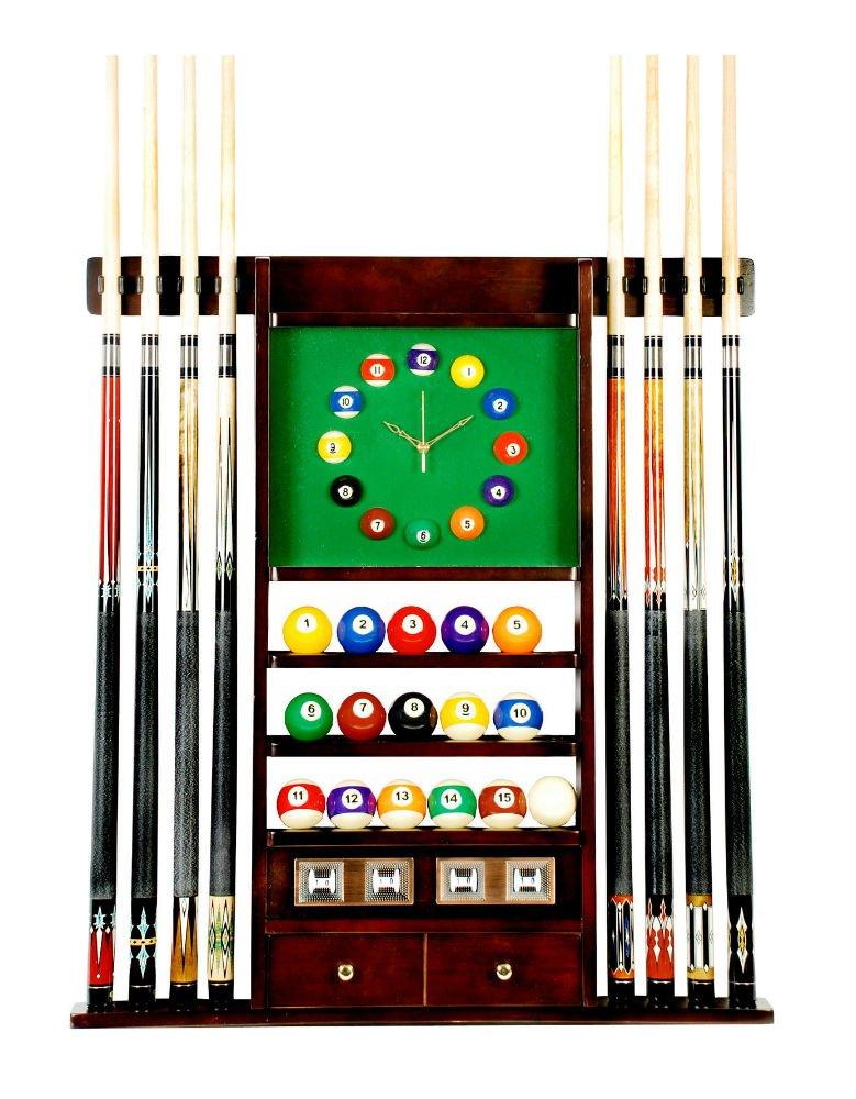 Cue Rack Only - 8 Pool - Billiard Stick & Ball Wall Rack W Clock Mahogany Finish