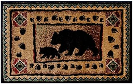 Cabin Lodge Area Rug with Bear and Cub Image 2 Feet X 3 Feet 2 Inch Mat