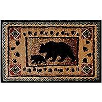 Champion Rugs Rustic Lodge Log Cabin Bear and Cub Area Rug Carpet (5 Feet 2 Inch X 7 Feet 3 Inch)