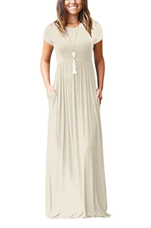 c16f34988 LHS Charmer Women Short Sleeve Loose Plain Maxi Dresses Casual Long Dresses  with Pockets,Short