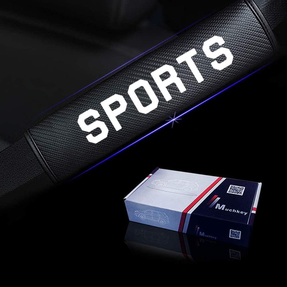 Sicherheitsgurt Pads PU Leder f/ür Mustang S-max Galaxy Touraeo Courier mit Blau Name Sports Aufkleber Pack von 2