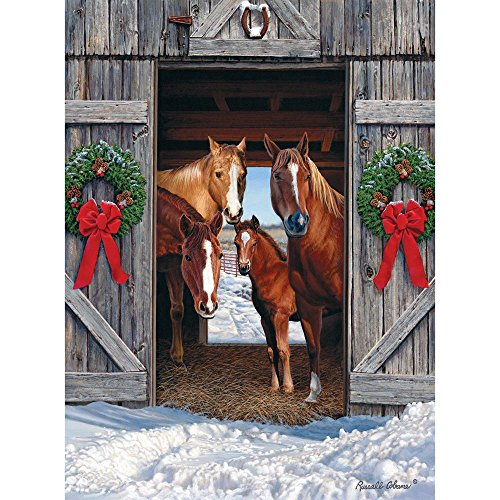 Bits and Pieces - 500 Piece Jigsaw Puzzle for Adults 18X24 - Horse Barn Christmas - 500 pc Jigsaw by Artist Russell Cobane