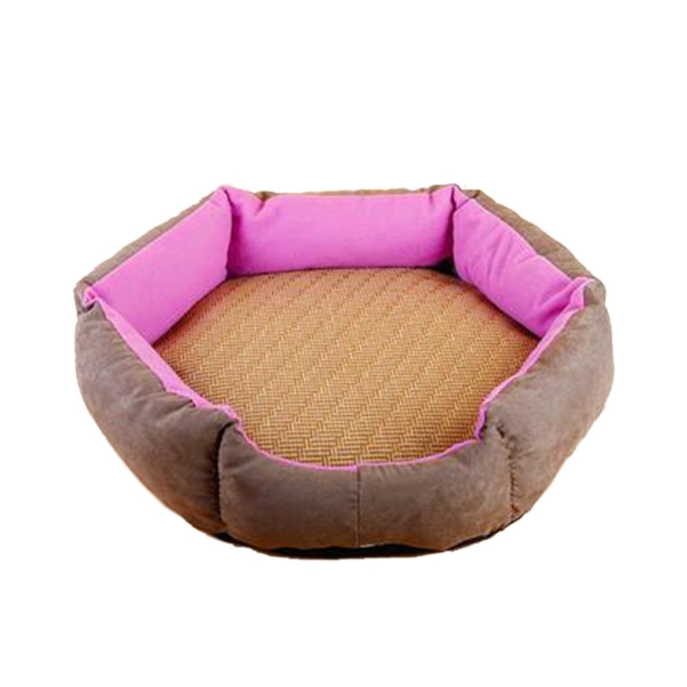 WuKong Hexagonal Pet Bed Cat Nest for Small Dog Pet Nest Cushions Removable Washable Dog House with Summer Mat (M: Outside diameter: 17.5''x15.6'', Rose red)
