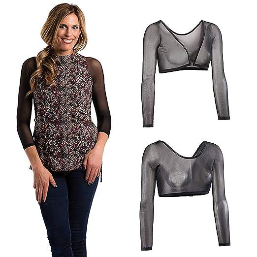 ddfbf40bb Atezch Women Arm Shaper Both Side Wear Sheer Plus Size Mesh Seamless Long  Sleeve Shapewear Top