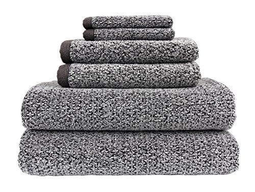 Everplush Diamond Jacquard Bath Towel 6 Piece Value Pack in Grey