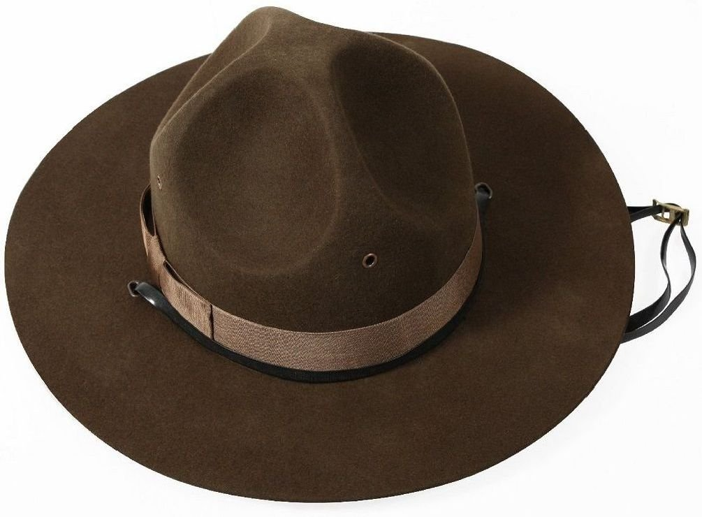 Army Usmc Usn Style Trooper Brown Drill Sergeant Wool Felt Campaign Hat