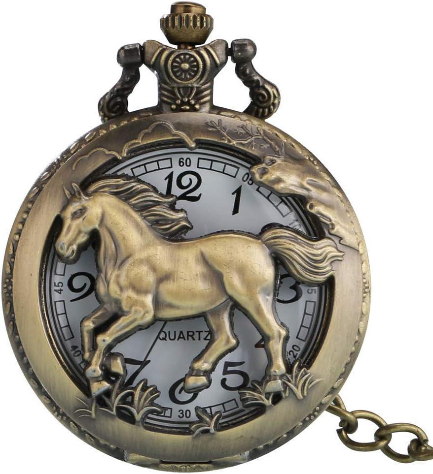 N / A Conspicua Caballo Brillante Reloj de Bolsillo de Cuarzo Hueco, en el Bolsillo de Bronce clásico para Hombres, Caja de la aleación Colgante de Reloj Resistente de la Mujer, Reloj de bo.