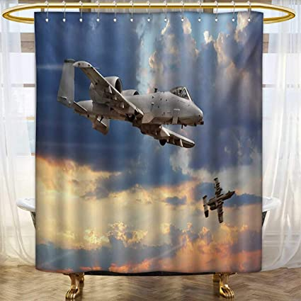 Lacencn AirplaneShower Curtains With Shower HooksPeacekeepers Mission Jet Up International Military Force
