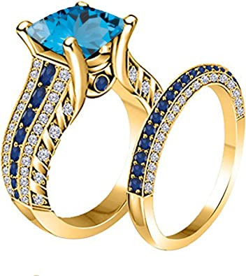 14K Yellow Gold Plated Fn Simulated Diamond Studded Wedding /& Engagement Ring Jewelry
