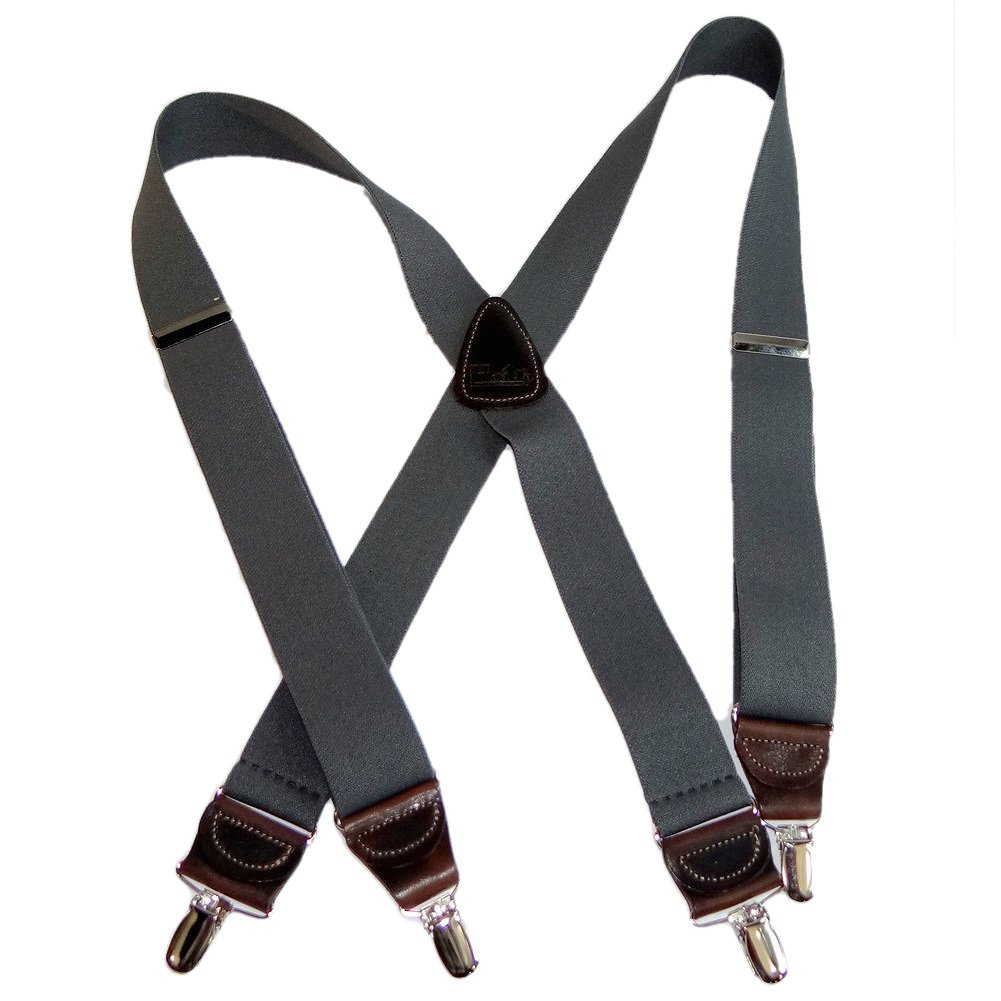 USA Made Slate Gray HoldUp brand Suspenders 1 1/2'' wide in X-back No-slip Silver Clips