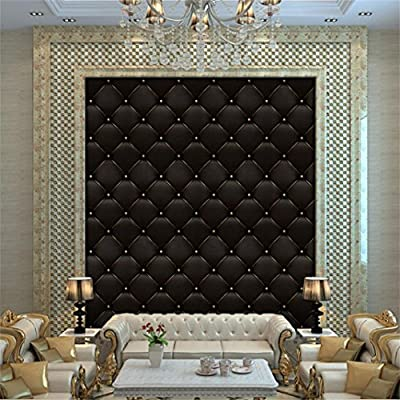 Efaster 3D Vintage Leather Textured Wallpaper PVC Mural Realistic Look Waterproof Wallpaper 300cm x 40 cm (Black-b)