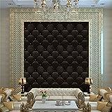 Efaster 3D Vintage Leather Textured Wallpaper PVC Mural Realistic Look Waterproof Wallpaper 300cm x 40 cm (Black-b)