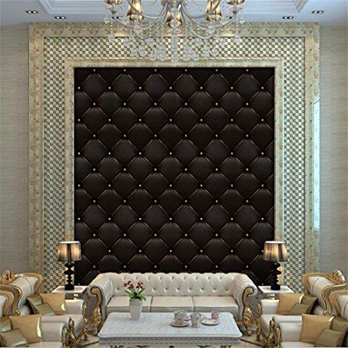 Efaster 3D Vintage Leather Textured Wallpaper PVC Mural Realistic Look Waterproof Wallpaper 300cm x 40 cm (Black-b) by Efaster(tm)