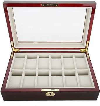 Caja expositora de Madera para 12 Relojes, Joyas, Joyas, Joyas, Joyas, Organizador, Expositor, Reloj, Gafas, Joyas, colección de Joyas, Color Rojo: Amazon.es: Relojes