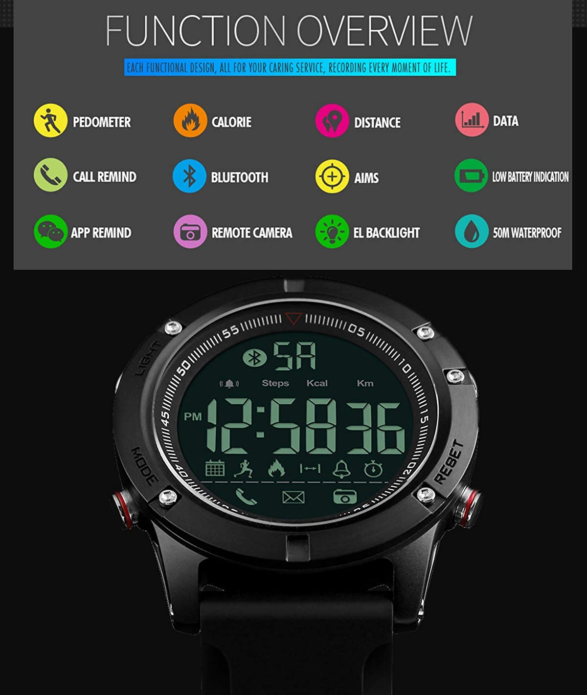 Mens Bluetooth Smart Watch Military Waterproof Multifunction Wrist Digital Sports Watch Pedometer Calorie Stopwatch Alarm