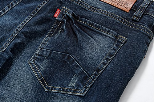 para SSLR Denim Hombre Slim Mustache Azul Jeans Fit wq7xfqPZXp
