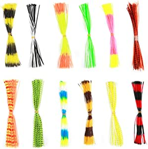 50 Strands Mixed Colors Fishing Skirted Lure for DIY Spinnerbaits Buzzbaits Replacement Baits for Swim Bass Jigs Lures 18pcs Premium Silicone Skirts Lures