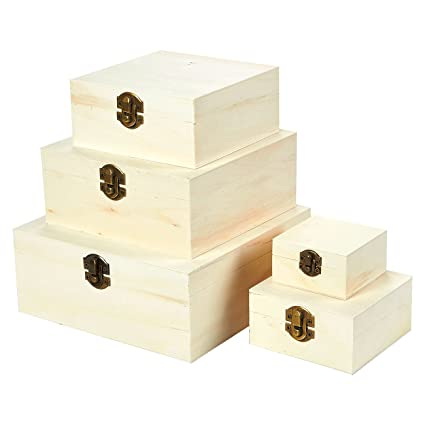 Juvale Wooden Boxes 5 Piece Hinged Lid Nesting Boxes For Arts Crafts Hobbies And Home Storage Unfinished Wood Natural Wood Color