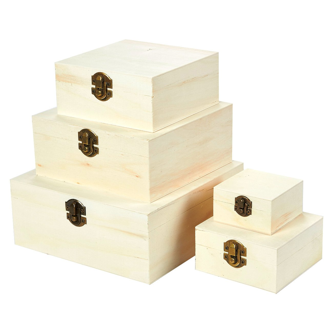 Juvale Wooden Boxes - 5-Piece Hinged-Lid Nesting Boxes Arts, Crafts, Hobbies Home Storage, Unfinished Wood, Natural Wood Color