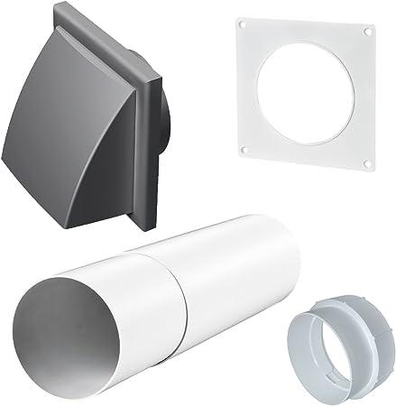 Ventilador Extractor conducto de ventilación Rejilla de manga con rejilla de pared telescópica Shutter gris: Amazon.es: Hogar