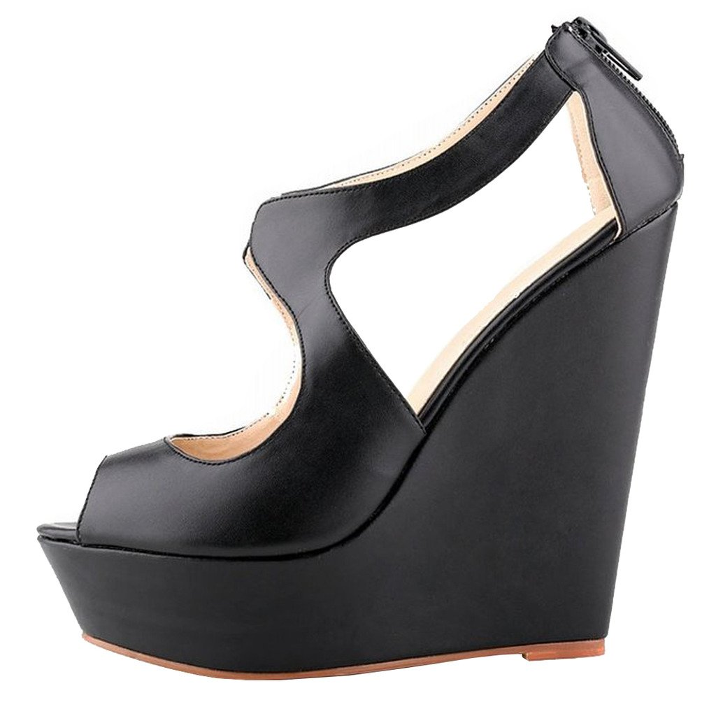 MERUMOTE Womens Wedges Heeled Sandals High Platforms Open Toe Zipper Shoes B01CWM5SE6 8 M US|Matte Black