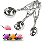 Ice Cream Scoop Stainless Steel with Trigger Set Cookie Melon Spoon Scoopers Gift for Kids, Friends & Familes (Set of 3)