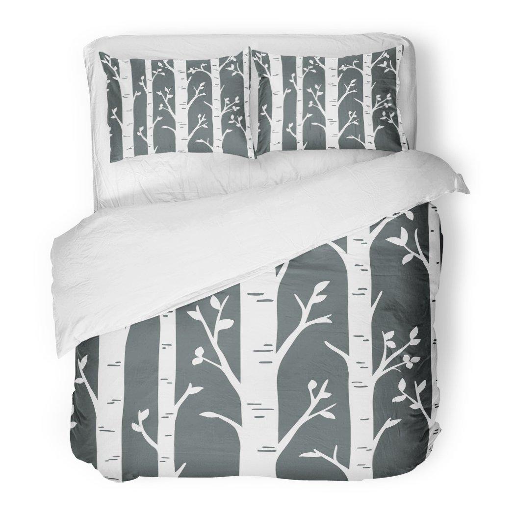SanChic Duvet Cover Set Birch Aspen Tree Forest Custom Wall Decals Decorative Bedding Set with 2 Pillow Shams King Size