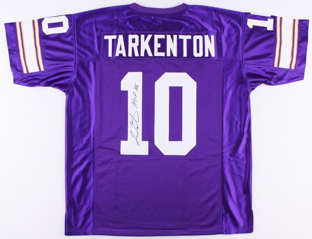 premium selection d51a8 32b5c Fran Tarkenton Autographed Purple Minnesota Vikings Jersey ...