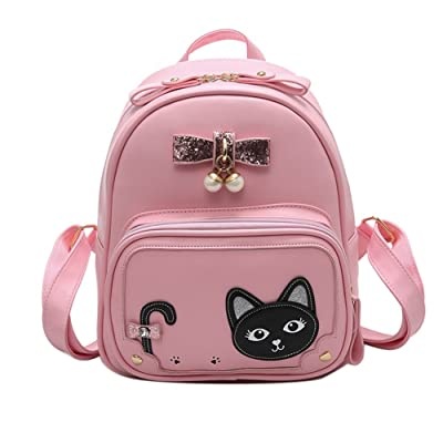 Cute Cat Face Leather Backpack Purse for Girls Women Shoulder Bags Casual Travel Daypack