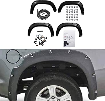 Amazon Com 4 Pcs Pocket Riveted Style Wheel Covers Fender Flares Textured Black Fit For 2016 2017 Toyota Tacoma Automotive
