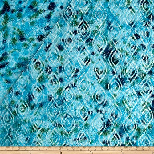 - Textile Creations Double Face Quilted Indian Batik Diamond Ikat Teal Fabric by The Yard,