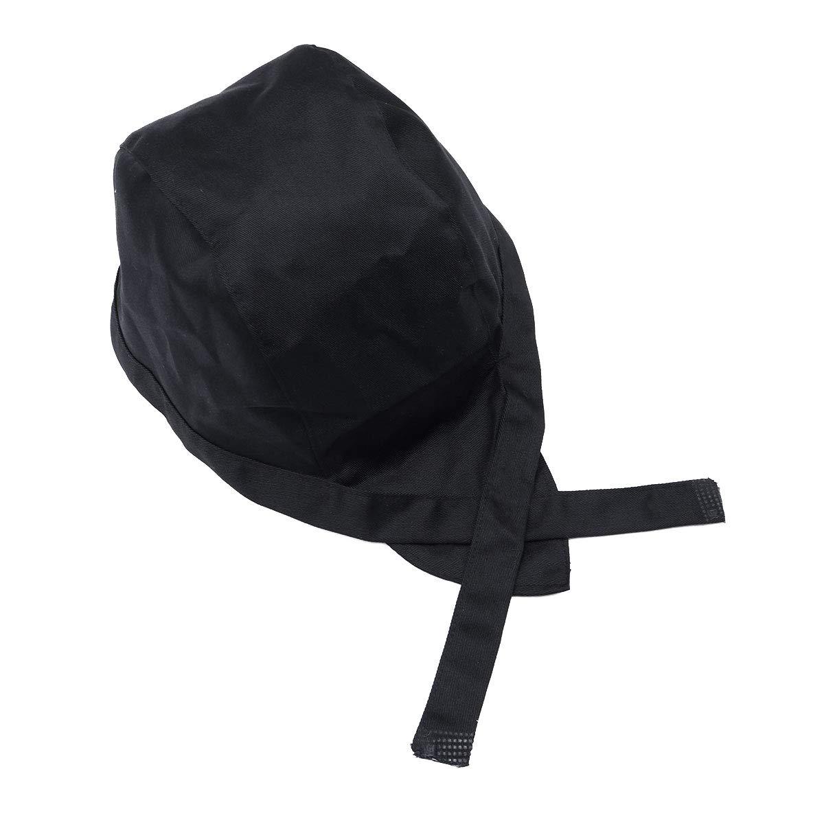 Negro Artibetter Cocina Catering Skull Cap Tie Back Chef Pirata Ribbon Hat