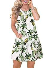 elescat Tshirt Dress Women Long Sleeve Floral Pocket Shift Swing Loose Casual