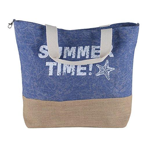 Heavy Shoulder Straps Summer Time Print Cotton Jute Premium Beach Women Tote Bag by BB (Navy Blue)