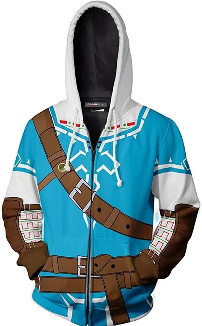 Nsoking The Legend Of Zelda Cosplay Costume Breath Of The Wild Link 3d Printed Cosplay Thin Coat Sports Jacket