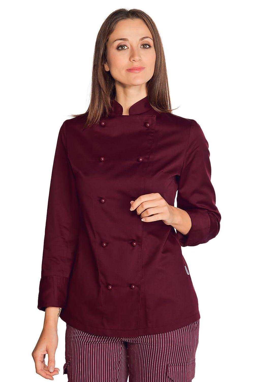 ISACCO Veste de Cuisine Femme Bordeaux