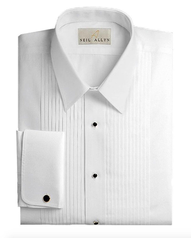 Slim Fit Tuxedo Shirt By Neil Allyn - 100% Cotton Laydown Collar with French Cuffs (16 - 32/33) by Neil Allyn