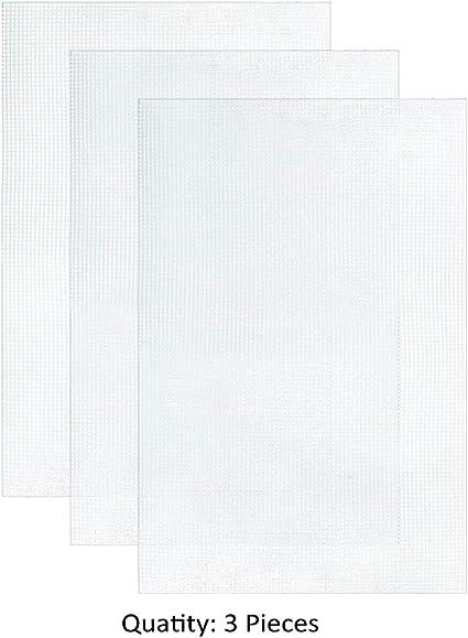 hilo acr/ílico de 12 colores y herramientas de bordado para bordado de pl/ástico y lienzos artesanales Pllieay 33 piezas de tela de malla pl/ástica que incluye 15 piezas de lona de pl/ástico transparente