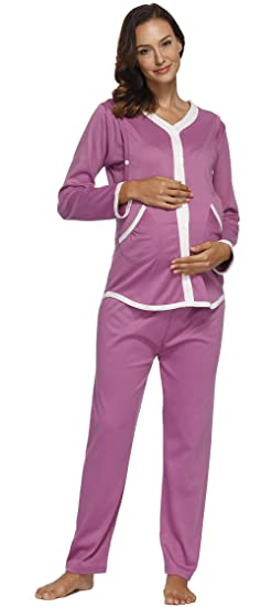 f261f2c4fe6df Image Unavailable. Image not available for. Color: Womens 2 Pcs Maternity  Nursing Pajamas Sleepwear Set Nightgown Cotton Breastfeeding Pregnancy ...