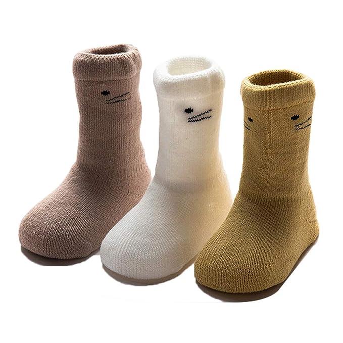 Ueither Set 3 Bebé calcetines fantasía para niños niñas grueso calcetines algodón respirable 0-36 Meses Antideslizantes: Amazon.es: Ropa y accesorios