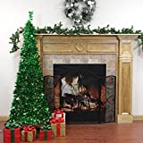 6' Pre-Lit Pop Up Bright Green Tinsel Artificial Christmas Tree - Clear Lights