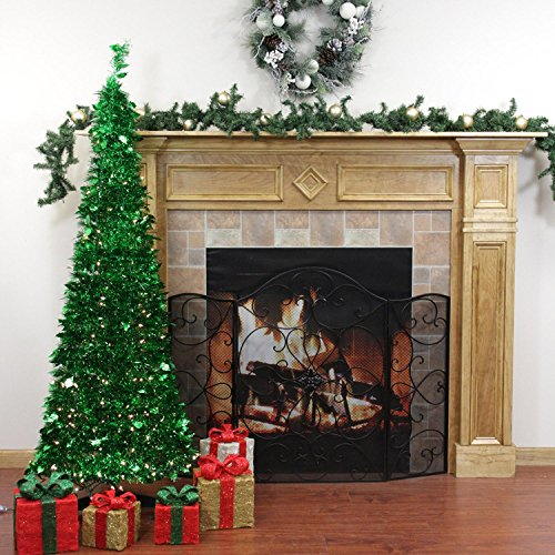 Rich Pacific 6' Pre-Lit Pop Up Bright Green Tinsel Artificial Christmas Tree - Clear Lights