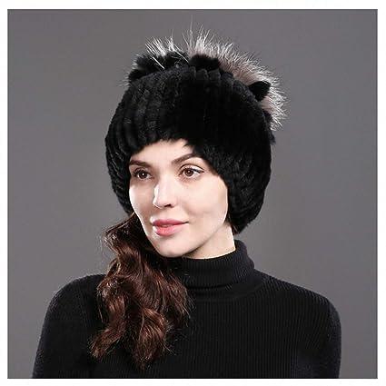 f8fe89344bb8e Tebapi Womens Mens Skullies Beanies Hat Women s Genuine Rex Rabbit Fur Hats  Winter Rex Rabbit Fur Beanies Striped Head Top Flower Fox Fur Warm Real Fur  Knit ...