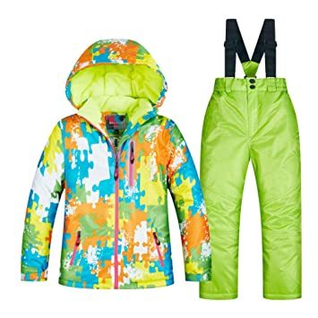 ZXGJHXF Kids Ski Suit Children Windproof Waterproof Warm Girls And Boy Snow  Set Pants Winter Skiing 7157a70d7