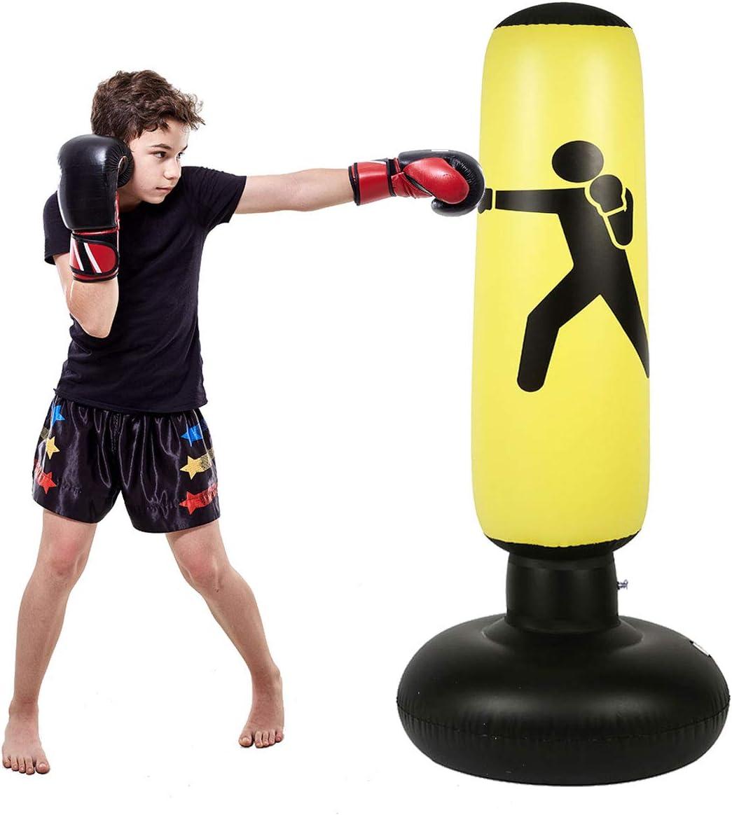 C CRYSTAL LEMON Fitness Punching Bag for Kids, Heavy Punching Bag Inflatable Punching Tower Bag Freestanding Children Fitness Play Adults De-Stress Boxing Target Bag Over 5ft