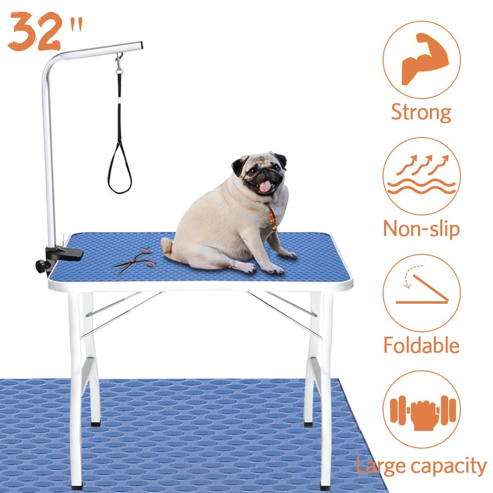 Royale Foldable Pet Dog Grooming Table, 32'' Portable Durable Drying Table with Non-Slip Table Top, Adjustable Height Arm&Noose for Dog or Cat