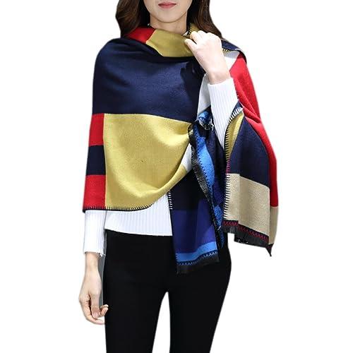 Señoras Moda Celosía Más Grueso Costura Exclusivo Simple Grueso Chal Bufanda
