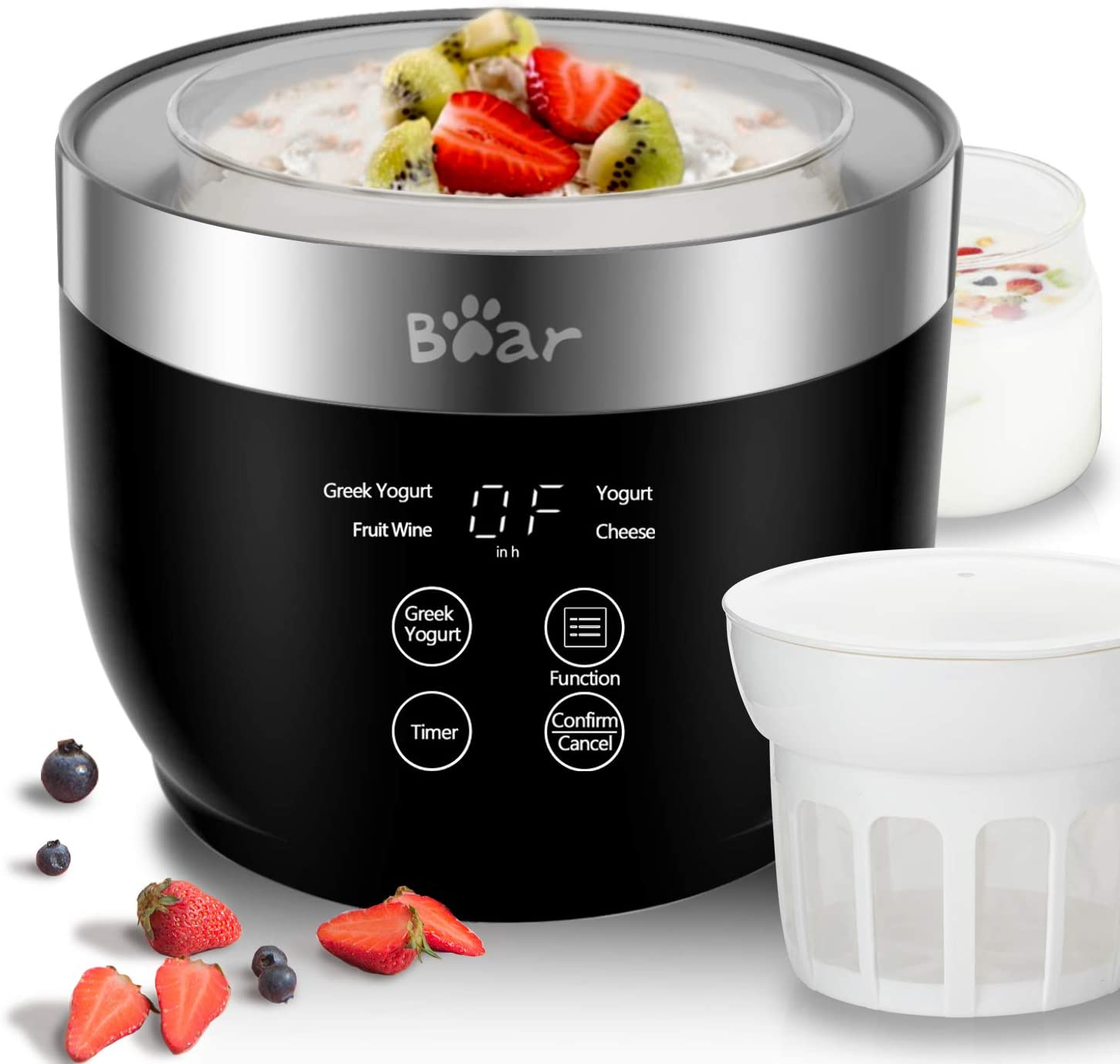 Yogurt Maker, Yogurt Maker Machine with Stainless Steel Inner Pot, Greek Yogurt Maker with Timer Control, Automatic Digital Frozen Yogurt Maker with 2 Glass Jars 1 Quart and Strainer for Home Organic Yogurt, Black