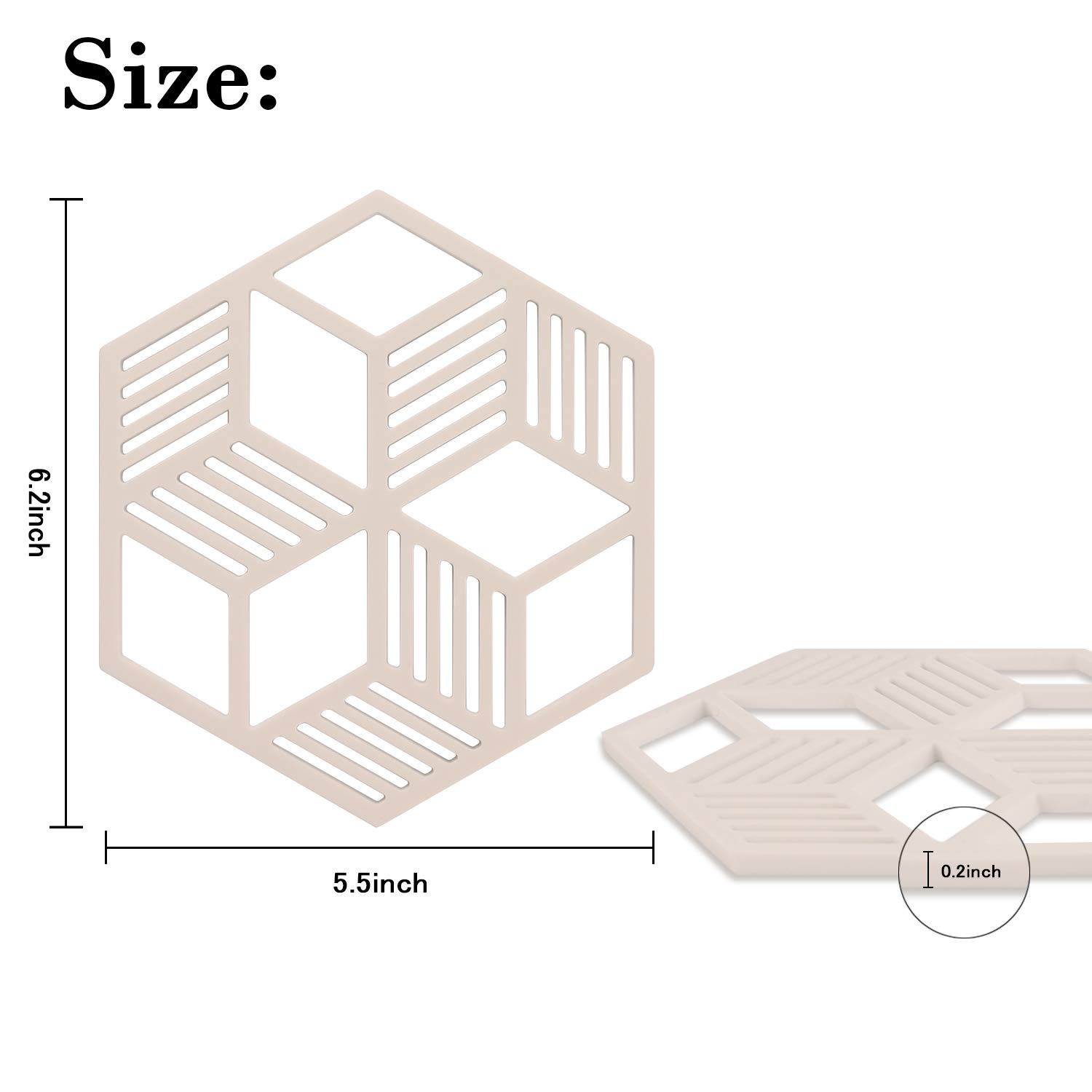 Silicone Trivet Mat,JiaDa 6 Set Silicone Multi-Use Intricately Carved Kitchen Trivet Mat Insulated Flexible Durable Non Slip Coasters 6-Black
