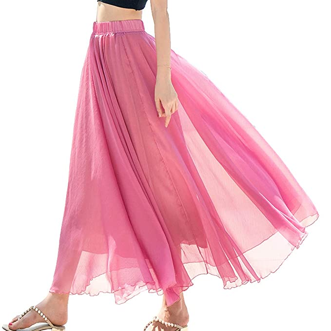 fbbbf7ba8d5b9 Sensfun Womens Bohemian Ankle Length Skirt Women's Long Chiffon Skirt  Pleated Retro Beach Skirts A-
